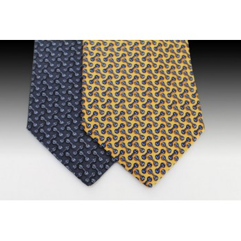 Small Knot Printed Silk Tie