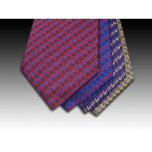 Small Motif Tulip Design Woven Silk Tie