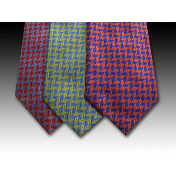 Brightly Coloured Small Zig Zag pattern Woven Silk Tie
