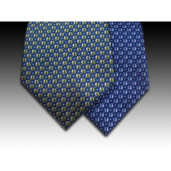 Woven Silk Tie with Small Coffee Bean Motif in Blues