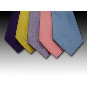 Plain Small Herringbone Weave Woven Silk Tie