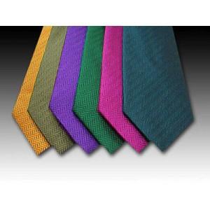 Plain Medium Herringbone Weave Woven Silk Tie