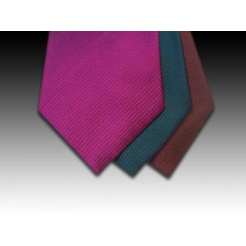 Plain Weave Silk Tie in Pink, Petrol and Burgundy (A)