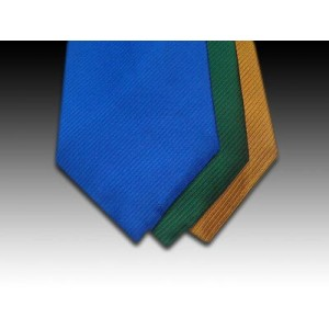 Plain Weave Silk Tie in Blue, Green and Gold (B)