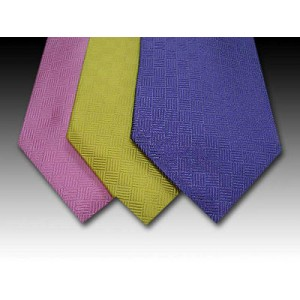 Plain Basket Weave Woven Silk Tie in Pink, Yellow and Lilac