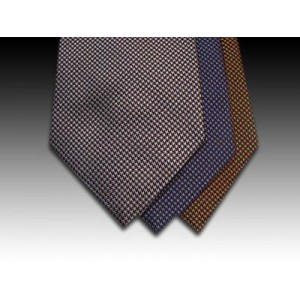 Plain Pin Point Weave Woven Silk Tie in Wine, Lilac and Gold