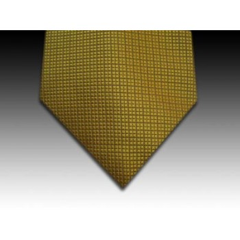Plain Window Pane Weave Woven Silk Tie in Gold
