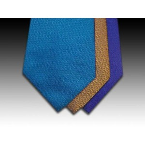 Plain Circular Weave Woven Silk Tie in Blues and Gold