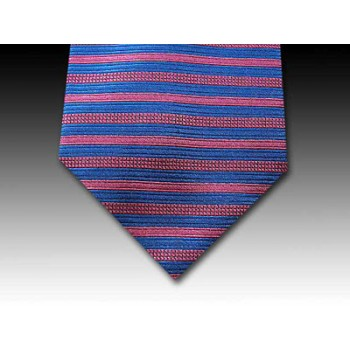 Royal Blue and Pink Horizontal Woven Silk Striped Tie
