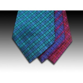 Woven Silk Tie with Stipes and Squares in Blues and Reds