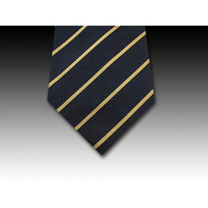 Narrow Gold Stripe in Woven Silk Black Tie
