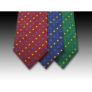 Wine, Navy and Green Woven Silk Ties with Small Yellow and Blue Spots
