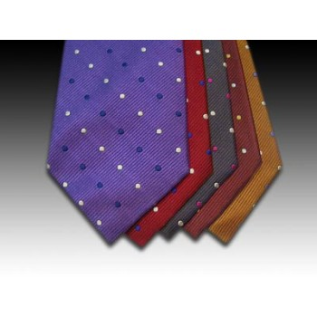 Small Multi Coloured Spots on Woven Silk Ties