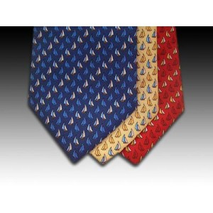 Small Sailing Boat design printed silk tie