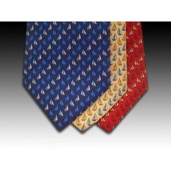 Small Sailing Boat design printed silk tie