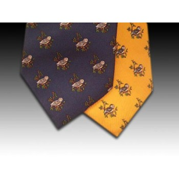 Owl on branch design printed silk tie
