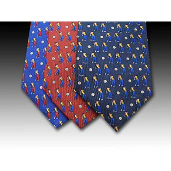 Golfer and Golf Ball design printed silk tie