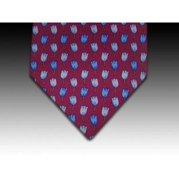Tulip design printed silk tie