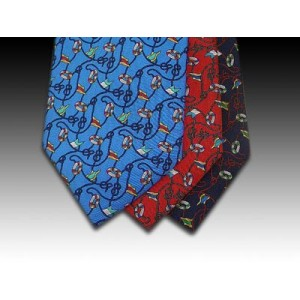 Nautical Flags, knots and rope design printed silk tie