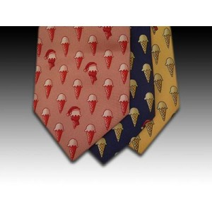 Ice Cream Cone with Santa Hat Printed Silk Tie (B)
