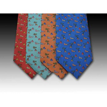 Africa tie, lion, hut and palm tree design