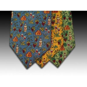 Wine Bottle and Glass with Vine pattern Printed Silk Tie