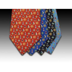 Sailing Boats and Anchor design printed silk tie