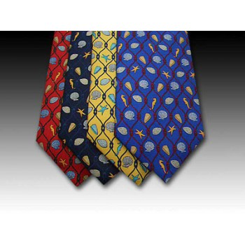 Seashore shell and rope design printed silk tie