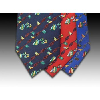 Sailing Boats, Ropes and Flag design printed silk tie