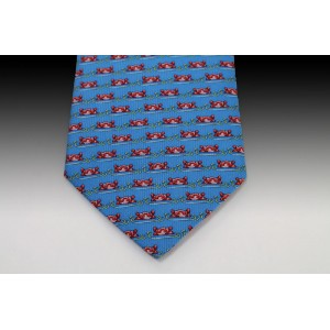 Hippo Head Design Printed SilkTie