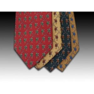 Horse racing, saddles and whips design printed silk tie