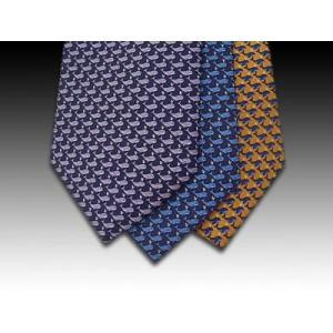 Spouting whale printed silk motif tie