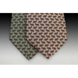 Small Fresian Cow design printed silk motif tie
