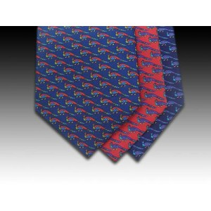 Peacock design printed silk tie