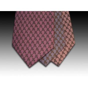 Teddy bear design printed silk tie