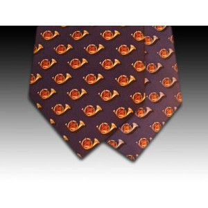 Hunting Horn and Fox Head design printed silk tie