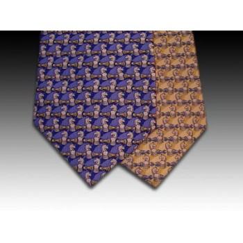 Knight and Pawn Chess Piece design printed silk tie