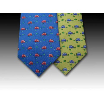 Rhino design printed silk tie