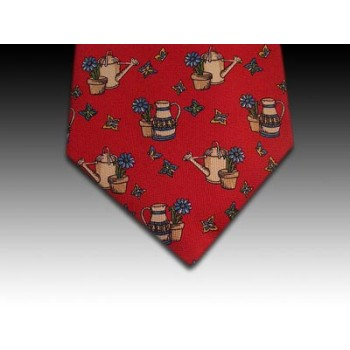 Gardener's Theme Watering Can printed silk tie