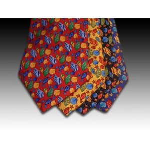 Sea Shell and Starfish design printed silk tie