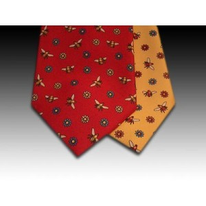 Honey Bee and daisy flower design printed silk tie
