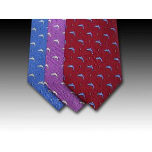Dolphin printed silk tie