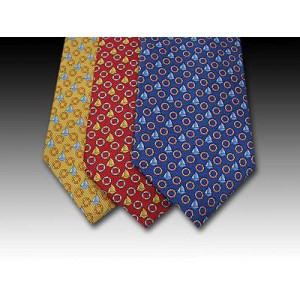 Sailing Boat and Ring design printed silk tie (A)