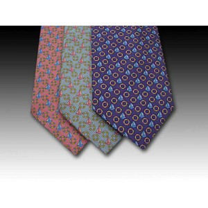 Sailing Boat and Ring design printed silk tie (B)
