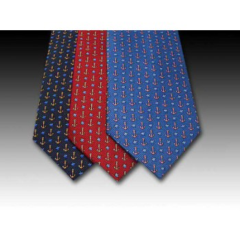Anchor and Star Fish design printed silk tie (A)