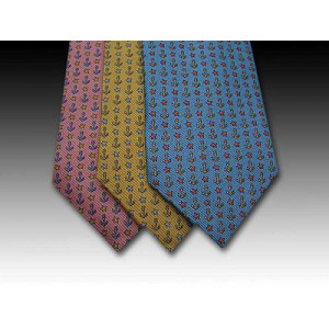 Anchor and Star Fish design printed silk tie (B)