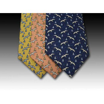Seagull and sail boat printed silk tie (A)