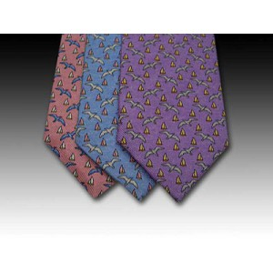 Seagull and sail boat printed silk tie (B)