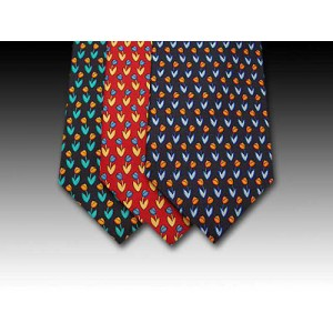 Tulip flower design printed silk tie