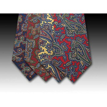 Large Colourful Paisley Pattern Printed Silk Tie